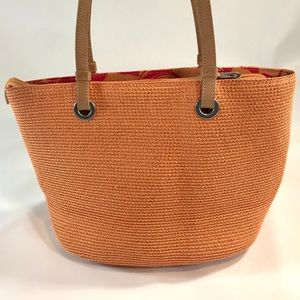 Talbots Orange Straw Woven Handbag Purse